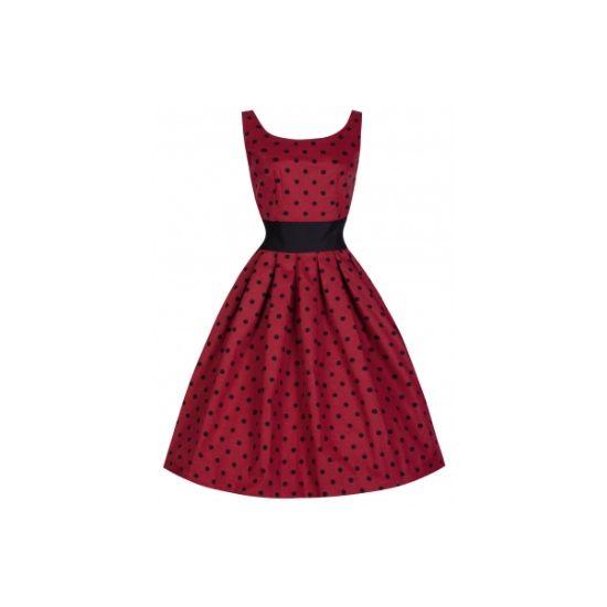 Lindy Bop Lana Red Šaty ve stylu 50. let. Krásné šaty ve výrazné červené barvě s věčně módním černým puntíkem. Zajímavě střižené, v pase doplněné širším páskem, který vám dokonale vykreslí pas a zvýrazní vaše křivky, vzadu mírně vykrojené se zapínáním na zip. Dobře padnou také díky materiálu (silnější, pevná bavlna 97% a 3 elastan). Doporučujeme při volbě velikosti sáhnout spíše po menší.