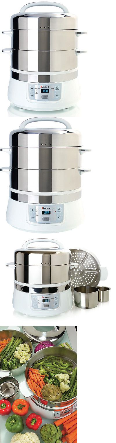 Small Kitchen Appliances Euro Cuisine 17 Qt Stainless Steel 2 Tier Electric Food Steamer