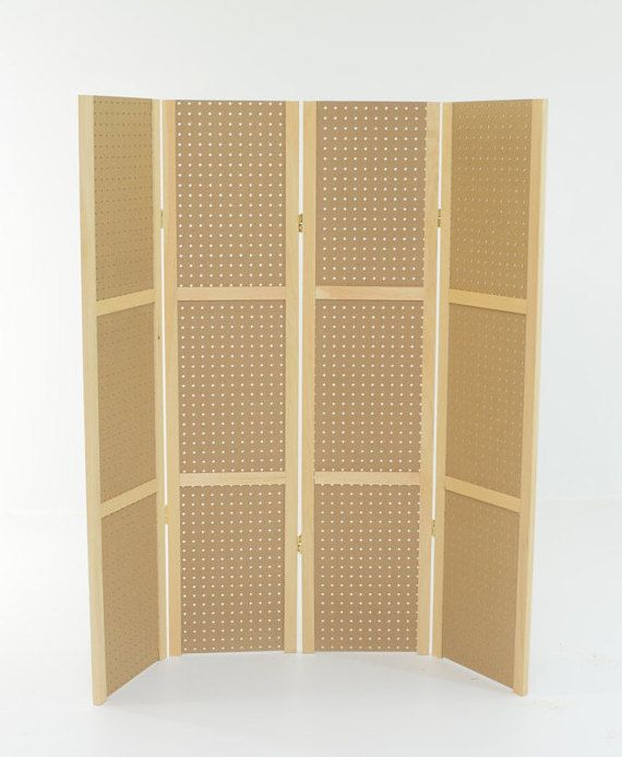 "Pegboard Display - 4 panels, hinged to fold flat. 58"" tall or 68"", ships UPS. No tools needed. Fits Standard 1/4"" pegboard hooks and access."