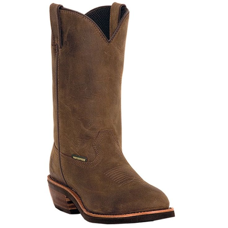 """These authentic handmade leather mens cowboy boots from Dan Post feature a steel toe, broad toe, and cowboy heel. Made with only premium materials and the signature Dan Post """"Handcrafted Cushion Comfo"""