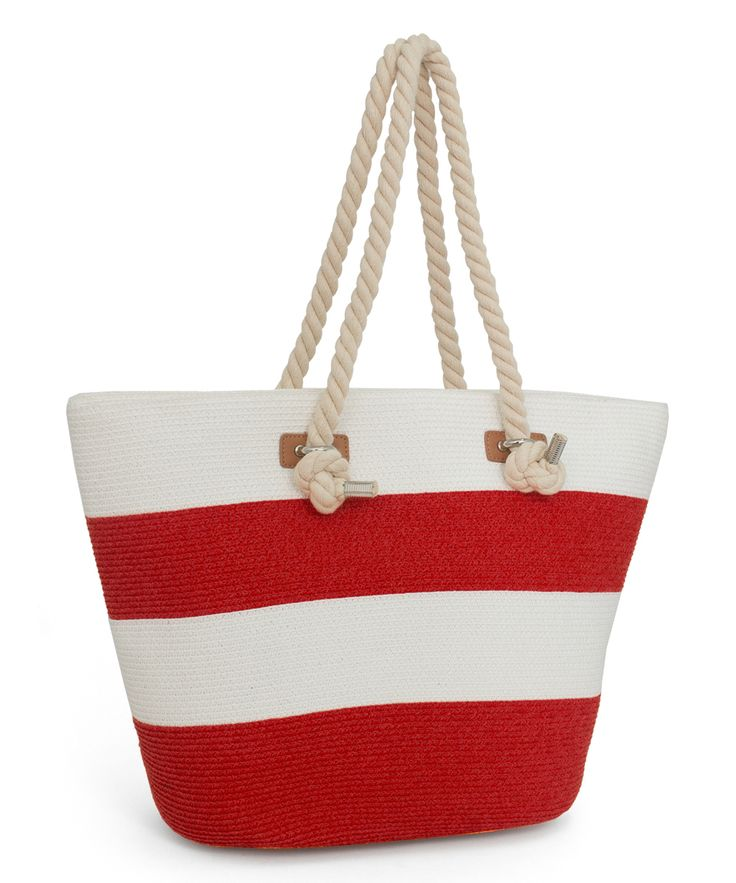 Red & White Wide-Stripe Tote