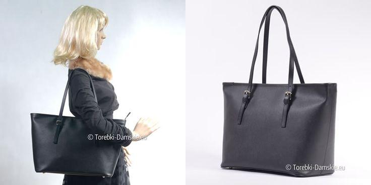 Nowy model - torebka Made in Italy, kolor czarny, wykonana z licowej skóry naturalnej, tłoczona (elegancki drobny wzór na powierzchni)