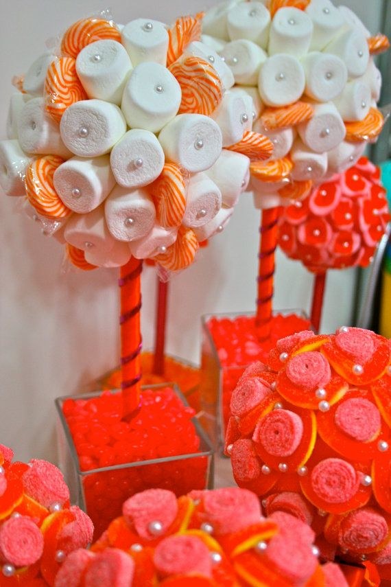 Orange & Fuchsia Pink Marshmallow  Lollipop Candy Land Centerpiece Topiary Tree, Candy Buffet Decor, Wedding, Mitzvah,