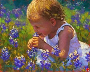 Bella in the Bluebonnets by Rita Kirkman Pastel ~ 8 x 10 inches