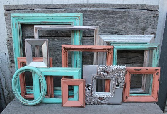 Set of 12 Open Frames - Coral and Turquoise Decor - Scatter Frames - Ornate Frames - Vintage Picture Frame - Nursery Coral and Teal