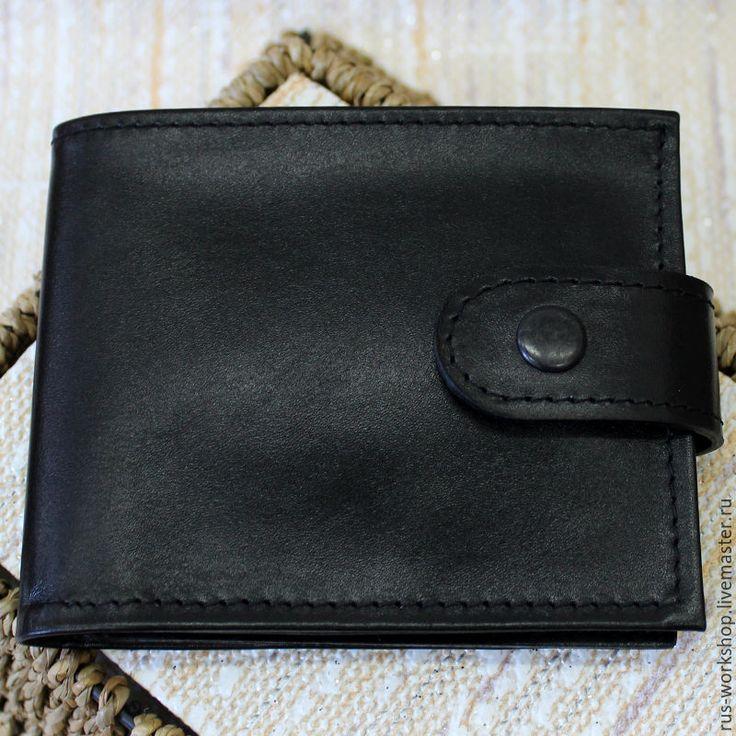 Купить Мужское портмоне, классическое портмоне, черное портмоне. - черный, портмоне, портмоне из кожи