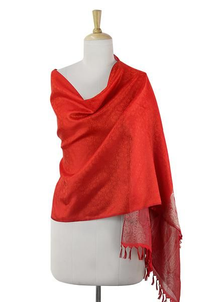 Varanasi silk shawl, 'Paisley Afire' - Bright Orange Red Varanasi Shawl Silk Wrap from India