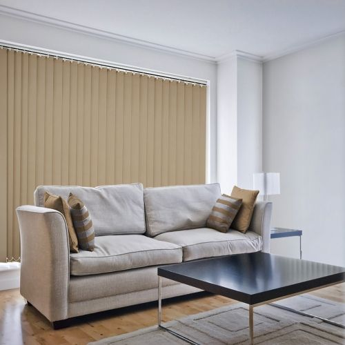 Hessian brown is a plain vertical blind fabric made to measure to your window size.