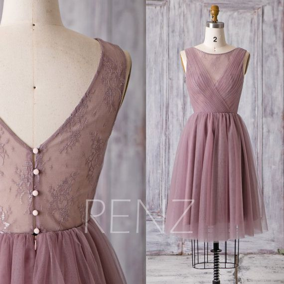 2016 Short Dusty Rose Bridesmaid Dress, A Line Wedding Dress, Mesh Flower Illusion Prom Dress, V Back Cocktail Dress Knee Length (HS163)