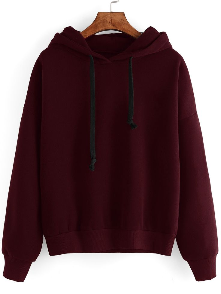 Sweat-shirt manche longue avec capuche - rouge bordeaux -French SheIn(Sheinside)