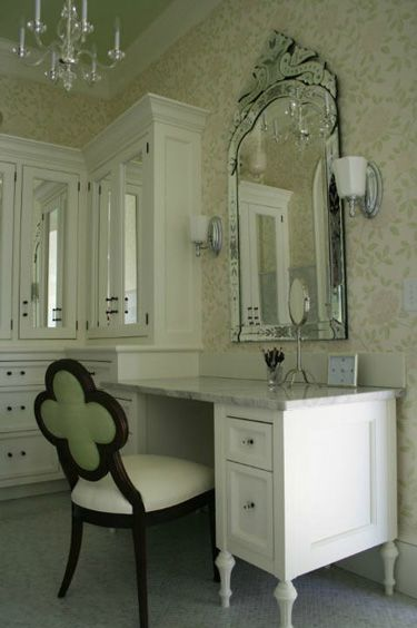 Elegant Soft Green Ceiling And Osborne And Little On Walls. Italian Glass Hardware  And Mirrored Doors. Designed By Kathryn Chaplow. Idea