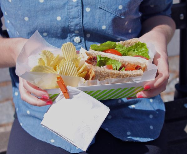 add a clothespin to plates when eating outside to keep your napkin from blowing away