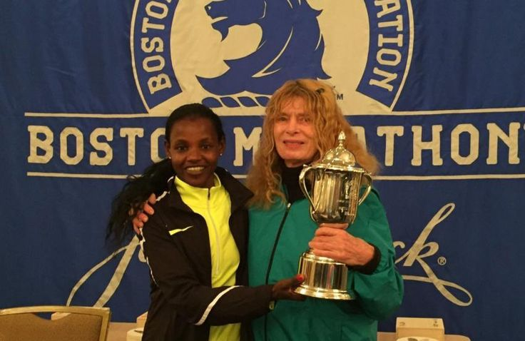In honor of her unofficial run in 1966, Bobbi Gibb (right) was given the 2016 trophy by winner Atsede Baysa. #womenhelpingwomen #bostonmarathon #inspiration #betterworld