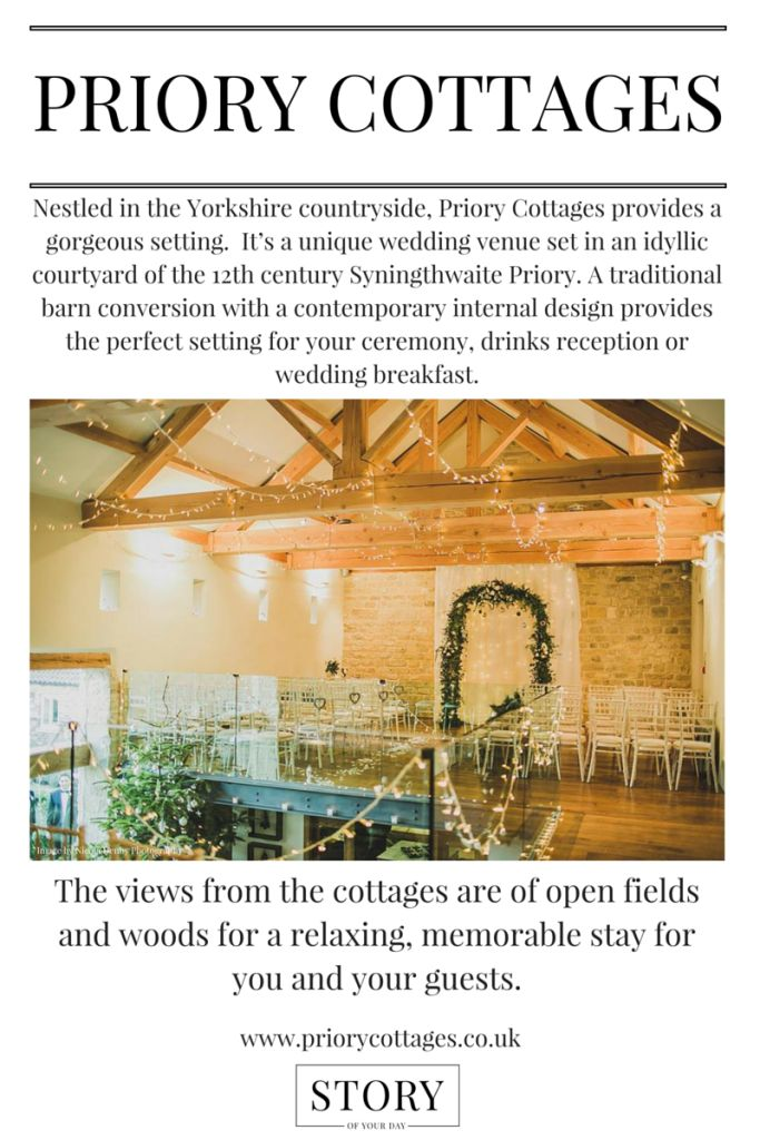 @priorycottages Priory Cottages Countryside Wedding Venue in Yorkshire. For rustic vintage weddings