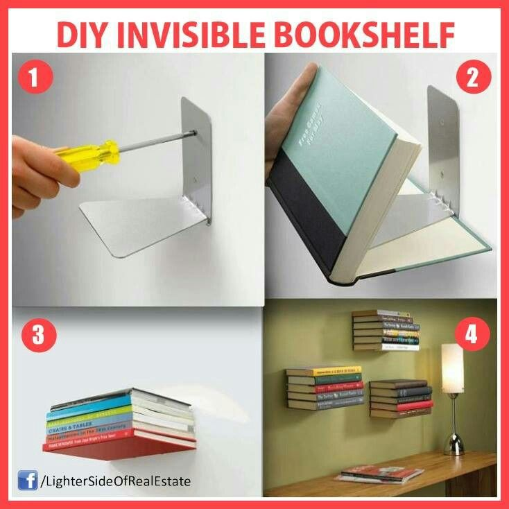 Diy invisible bookshelf home decor pinterest How to make an invisible bookshelf
