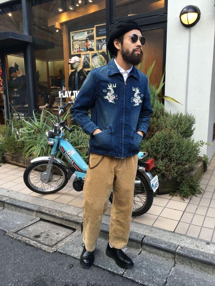 【Watanabe blog:刺繍特集】 tops:デニムベトジャン inner:OXFORDボタンダウン bottom:ワンプリーツコーデュロイワイドパンツ shoes:3アイレットエアソールシューズ cap:コーデュロイベレー