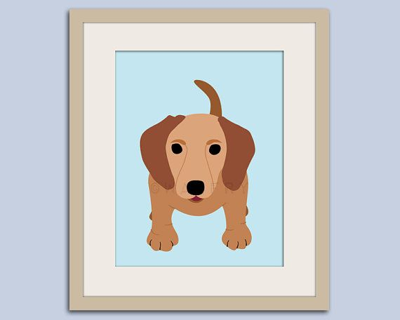 Dachshund print. Hot dog, weiner dog, sausage dog, puppy dog nursery decor. Kids wall art, nursery print 11x14 by WallFry