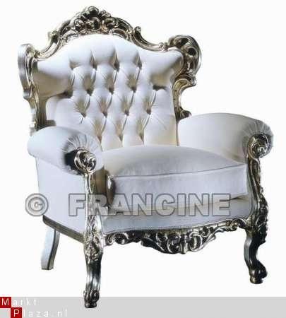 Zilver witte BAROK fauteuil met SWAROVSKI