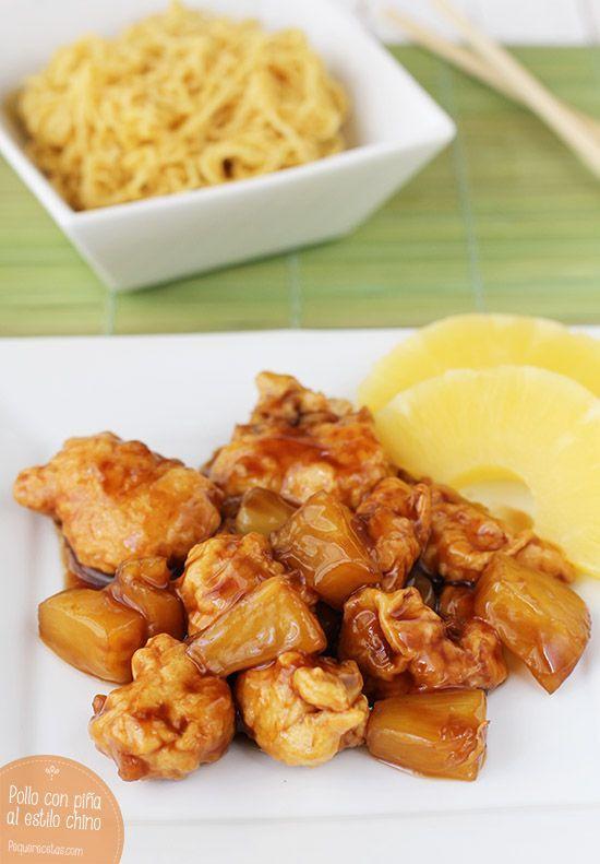 Pollo con piña, una receta de pollo muy oriental