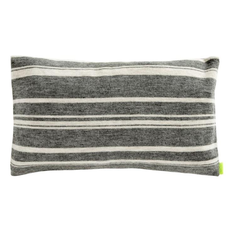Stripy cushion grey