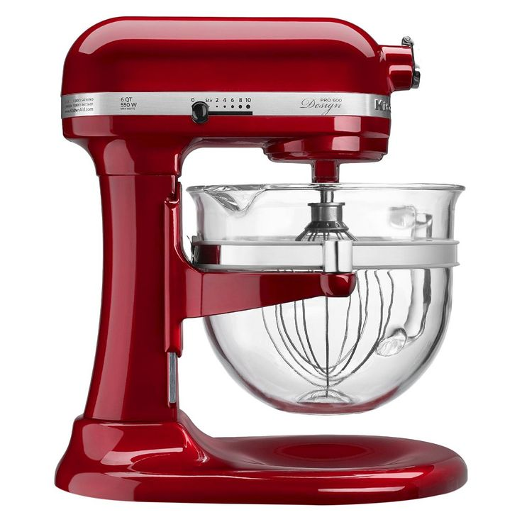 KitchenAid�Professional Pro 600 Design 6 Qt Stand Mixer with Glass Bowl- Red KF26M22