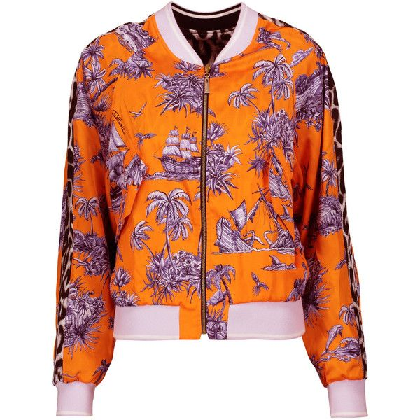 Just Cavalli - Printed Satin-twill Bomber Jacket (14.090 UYU) ❤ liked on Polyvore featuring outerwear, jackets, multi, lightweight jackets, twill jacket, twill bomber jacket, patterned bomber jacket and zipper jacket