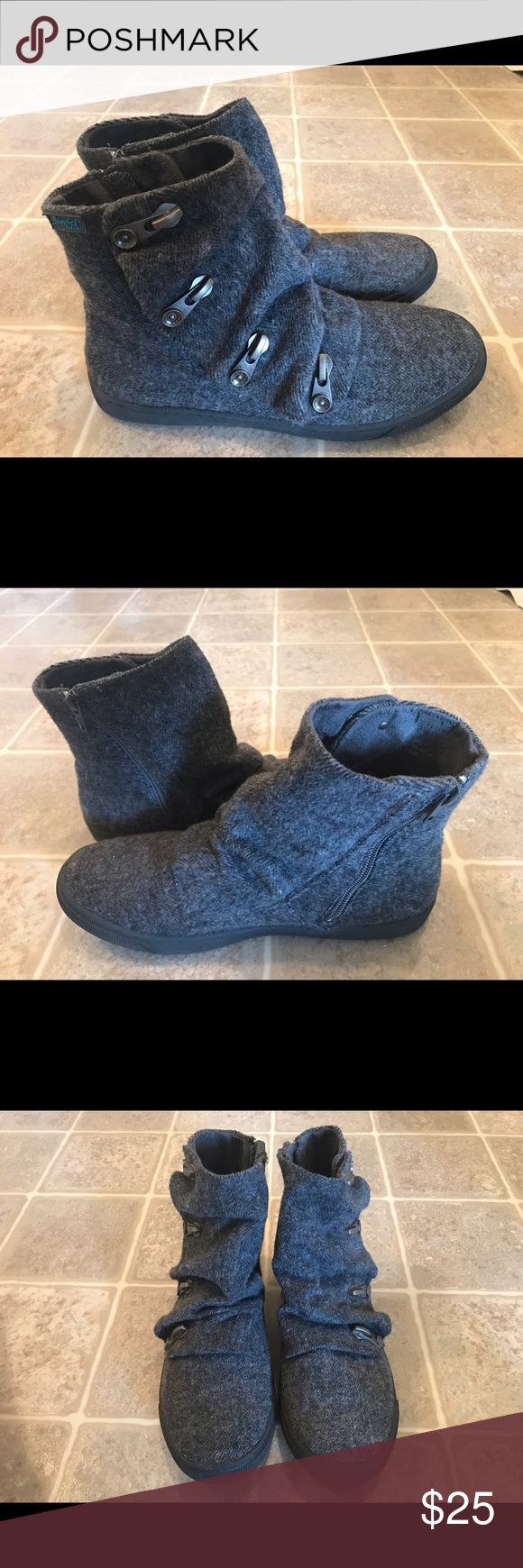 Blowfish Malibu Grey Flannel Zip Ankle Boots Like new, worn once so they're spotless. Grey soft flannel with buckles, zip up ankle boots. Super comfortable! Blowfish Shoes Ankle Boots & Booties