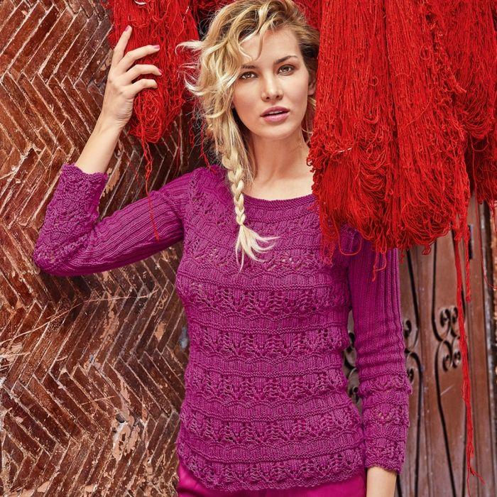 Вязаный ажурный джемпер и пуловер спицами » Женский Мир