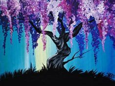 16 EASY Acrylic paintings you can do with cotton Swabs. Simple Wisteria Tree with Cotton swabs in Acrylic Paint on Canvas Step by step tutorial. Anyone can do this really easily. The Art Sherpa Q-tip Painting