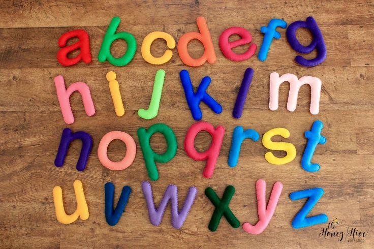 Felt alphabet, giant felt letters, alphabet banner, hanging letters,  handmade alphabet, handmade felt letters, alphabet letters by TheHoneyHiveWorkshop on Etsy https://www.etsy.com/ca/listing/517884282/felt-alphabet-giant-felt-letters