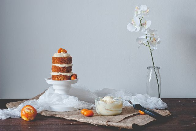 Carrot cake with citrus goat cheese frosting. by Two Red Bowls, via Flickr: