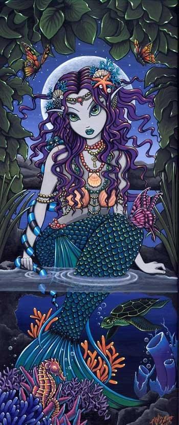 Uxia Tropical Mermaid Siren Sea Turtle Fae 13 X 19 inch Art Print