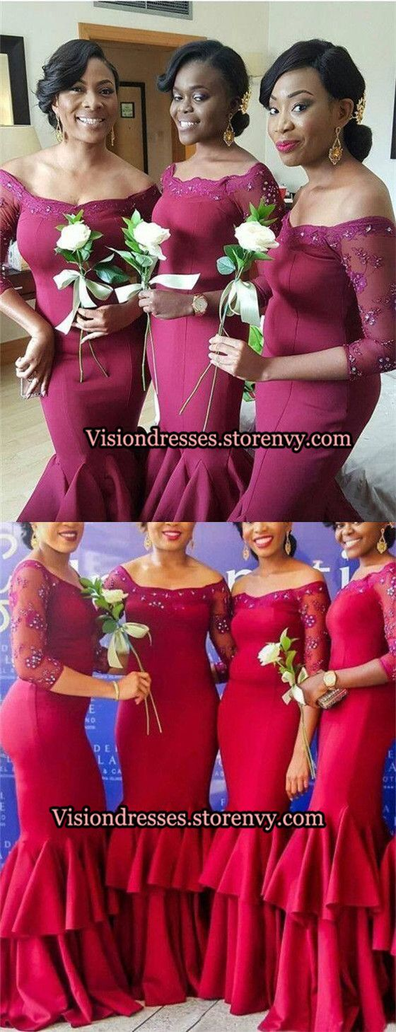 Chic Burgundy Off Shoulder Bridesmaid Dresses, 3/4 Sleeves With Beaded Lace Bridesmaid Dresses, Long Mermaid Bridesmaid Dresses, VB0176 from VisionDresses