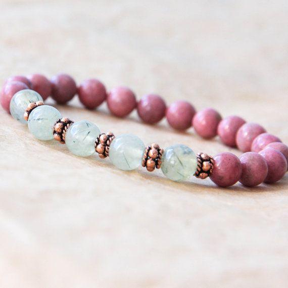 Mala Bracelet, Spiritual Jewelry, Wrist Mala Beads, Buddhist Bracelet, Rhodonite. Love it!!
