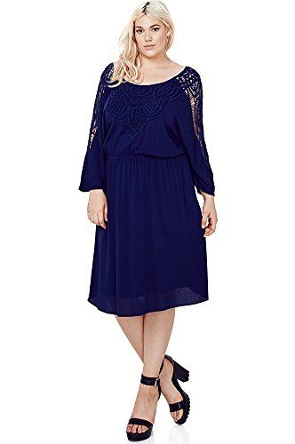 Fashion Bug Plus Size Solid Colors Crochet Gauze Lace Dress (Plus Size) www.fashionbug.us #plussize #fashionbug #Dress