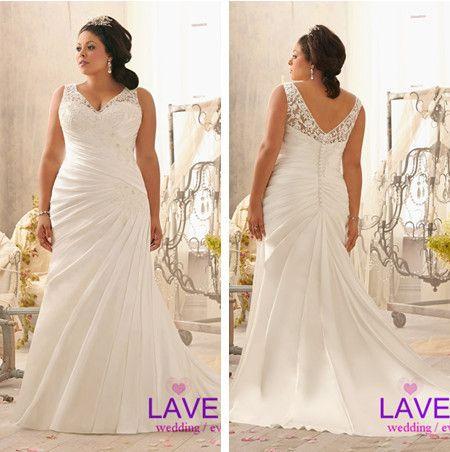 Sexy open back plus size wedding dress 2014 new satin lace wedding gowns bride dress with a long train vestido de noiva custom $199.00, sizes 2 to 28W.