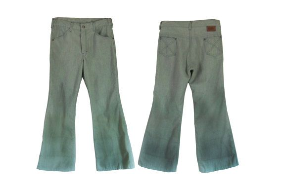 Vintage 70s Bell Bottom Jeans Green 1970s Boys Pants by #TheVilleVintage