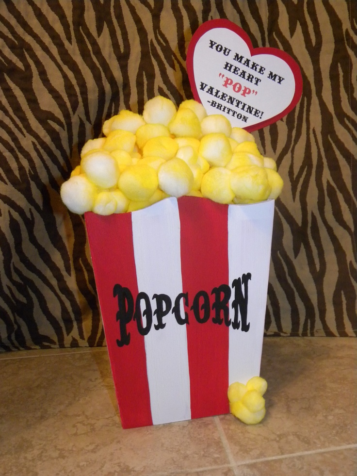 Britton and I had so much fun making this Valentines Box for school.  The popcorn lifts off to put in your Valentines.