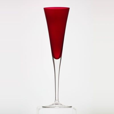 Red champagne flute. Beautiful shape.