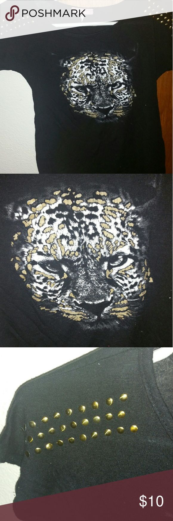 Rocker leopard shirt Black tee with a painted leopard on it. Gold studs on the shoulders. Size x small. Worn a handful of times. Tops Tees - Short Sleeve