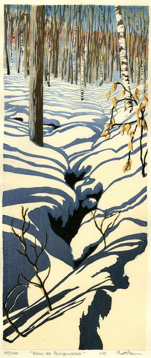 LOVE!!!!   Snow on Cannon Mtn. Matt Brown: Woodblock Print.