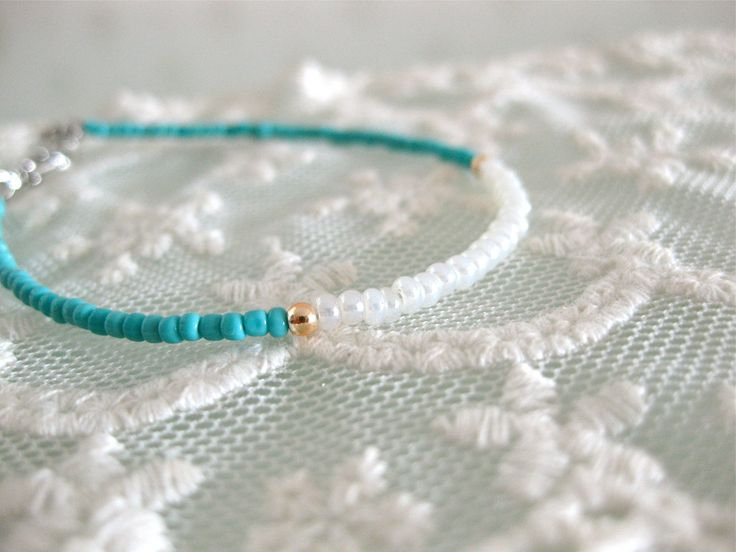 turquoise and white seed bead bracelet. friendship bracelet. layering bracelet