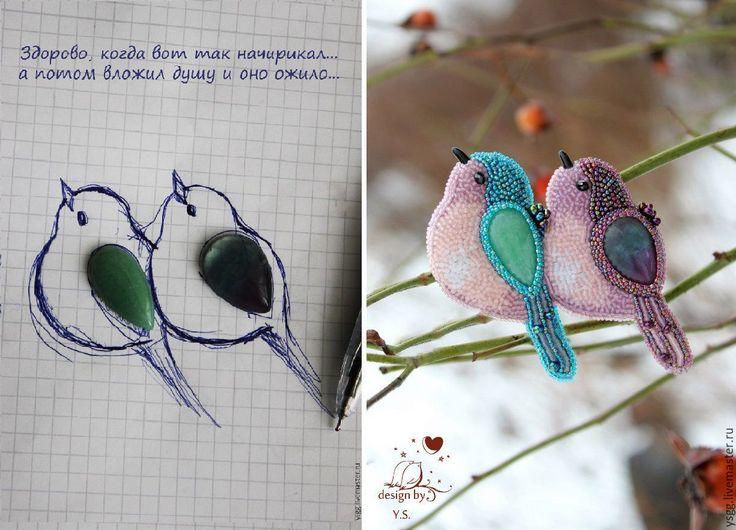 Купить или заказать Броши 'Птицы' в интернет-магазине на Ярмарке Мастеров. Тут представлены работы, которые нашли своих хозяев. Возможно исполнение на заказ. Камушек на выбор. Цветовая расцветка по желанию.