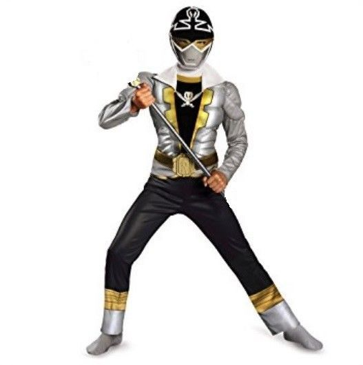 Power Rangers Super Megaforce SILVER Ranger Muscle Costume Boy's size 7 8 New  #Disguise #CompleteCostume