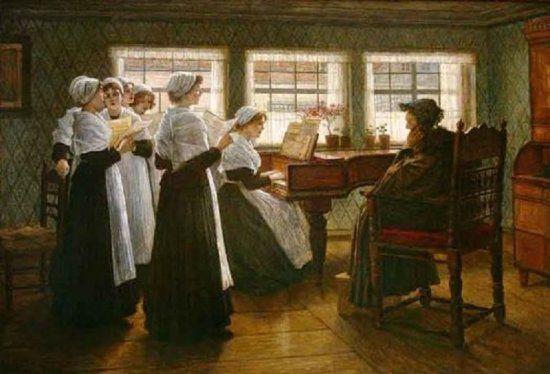 """FIRLE, Walter (1859 - 1929) """"Morgenandacht in einem holländischen Waisenhaus"""","""