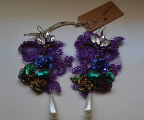 Purple lace embroidery earrings by KirkisCharms on Etsy