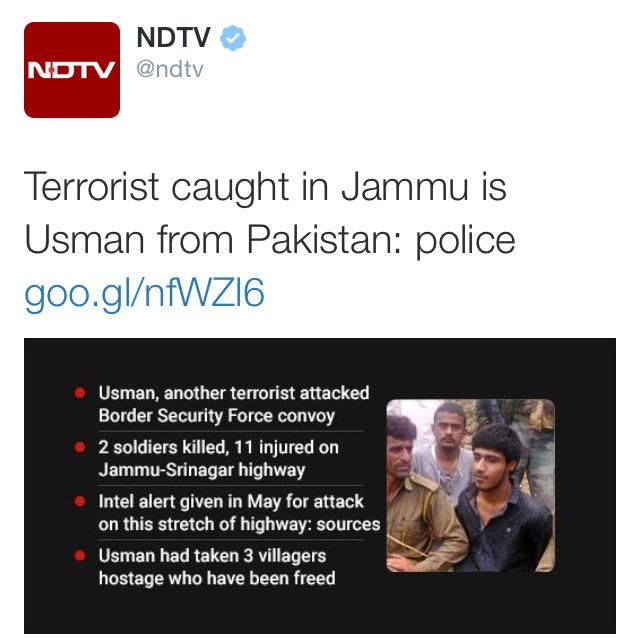 While rest are saying arrested terrorist is Qasim @ndtv says he is Usman