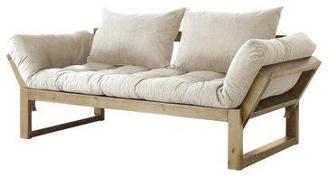 Edge Convertible Futon Sofa/Bed, Natural Frame, Natural Mattress - contemporary - Sofa Beds - Edgewood Ave
