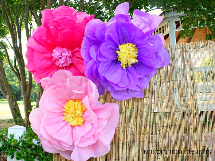 Giant tissue paper flowers with tutorial
