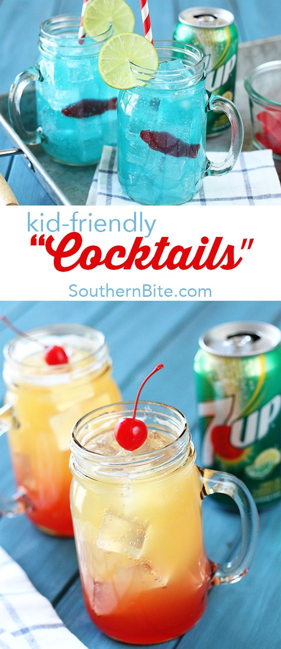 """These kid-friendly Ocean Water and Pineapple Sunrise """"cocktails"""" made with @7UP are the perfect things to keep the kiddos cool this summer! They're pretty cool looking, too! #ad"""